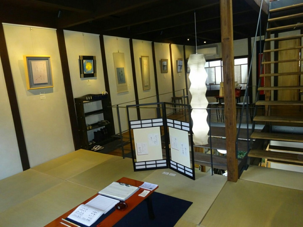 重松で開催した村上文堂仮名文字の個展